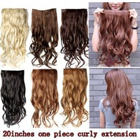 """Jovivi 20"""" 135g Long Curly Clip-on Hair Extension Wigs Chestnut natural Black"""