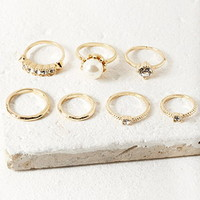 Faux Pearl and Rhinestone Ring Set