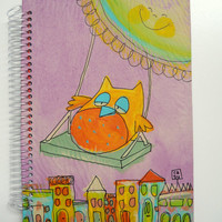 Owl in a swing - Purple hand dyed paper cover- Notebook - Handmade and hand painted - Acrylics and chinese ink