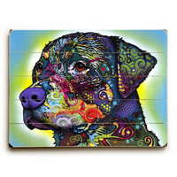 The Rottweiler by Artist Dean Russo Wood Sign
