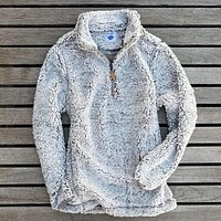 The Victoria Sherpa Pullover in Gray by Nordic Fleece