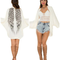 Fashion Women White Free Size Tops Blouse Coat Sandy Beach Sun Shirt Printed Wings Knit Cardigan Shawl Long Sleeve (Color: White) = 1958114756