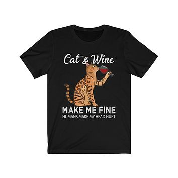 Cat and Wine Funny T-Shirt