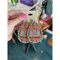 Leather Merry Christmas Earrings