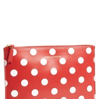 Women's Comme des Garcons 'Large Polka Dot' Leather Zip-Up Pouch - Red