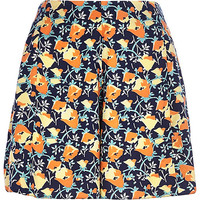 River Island Womens Navy floral high waisted shorts