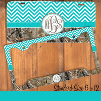 Aqua Brown Camo Chevron Monogram License Plate Frame Holder Metal Wall Sign Tags Personalized Custom Vanity Country Girl