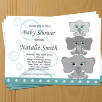 Baby Shower Invitation Elephant Baby Shower Invitation Boy Baby Shower Invitation Invites (L2) - Free Thank You Card - Instant Download