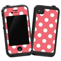 "White Polka Dot on Coral ""Protective Decal Skin"" for LifeProof iPhone 4/4s Case"