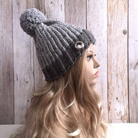 Chunky grey marble knitted women hat beanie, gift or for you