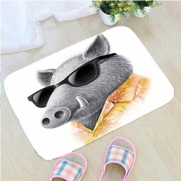 Autumn Fall welcome door mat doormat Creative Cartoon Animal  Pig Printing Flannel Fabric Floor Mat Home Decoration Non-slip  vloermat mata do drzwi AT_76_7