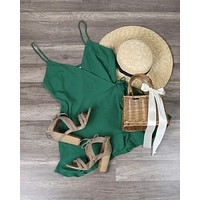 Final Sale - Honey Belle - Soft Rayon Wrap Romper Dress in Green