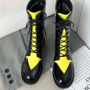 Women Patent Leather Fashion Lace Up Ankle Boots