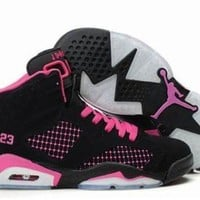 Tagre™ hot nike air jordans 6 women shoes embroidery black pink number 1