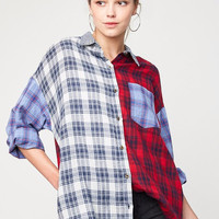 Mixed Plaid Flannel Button Up