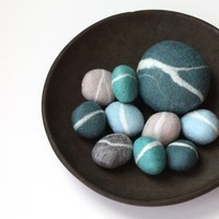 Felted Pebble Gift Set in Blue tones