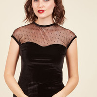 The Answer Is Sheer Velvet Top in Black | Mod Retro Vintage Short Sleeve Shirts | ModCloth.com