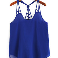 Knotted Racerback Cutout Cami Top - Royal Blue