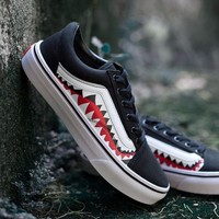 Sale BAPE x Vans Old Skool Custom 17ss SHARK MOUTHS Low Sneakers Convas Casual Shoes XH51 OS