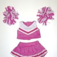 """Pink & White Cheerleader Uniform Outfit Clothing Fits 8""""-10"""" Most Webkinz, Shining Star and 8""""-10"""" Make Your Own Stuffed Animals and Build-A-Bear"""