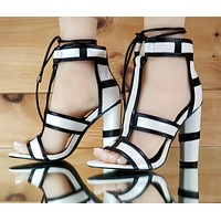 """CR White Black Trim 4"""" Rounded Chunky High Heels Lace Up Shoe 7-11"""