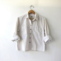 vintage cropped shirt. button down oatmeal shirt. basic cotton shirt. modern minimalist.