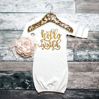 Baby Girl Gown Hello World Gown Newborn Gown Coming Home Outfit Baby Shower Gift Baby Girl Sleeper Glitter Gown Infant Gown #90