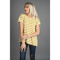 Golden Mustard and Ivory Striped Top