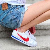 NIKE Classic Cortez Fashion Women Men Casual Sport Running Shoes Sneakers White&Red&Blue