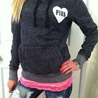 VICTORIA'S SECRET Love Pink BLACK SPECKLED PULLOVER HOODIE JACKET CUTE HEART M