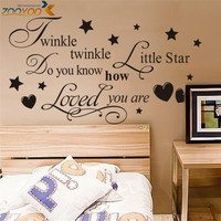 Twinkle twinkle wall decals litter star sticker quote wall arts zooyoo8064 diy decorative bedroom removable vinyl wall stickers SM6