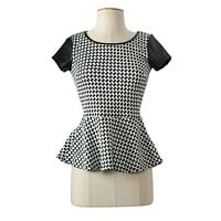 Plaid Print Round Neck Faux Leather Short Sleeve Cropped Knit Peplum Top