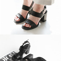 Buckled Slingback Strap Heeled Sandals
