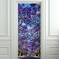 "Wall Door LAMINATED STICKER purple forest alley flowers poster, mural, decole, film 30x79"" (77x200 Cm)"