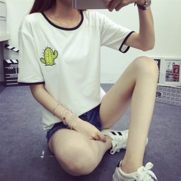Embroidered Cactus T Shirt for Summer