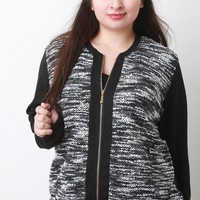 Melange and Rib Knit Zip-Up Jacket