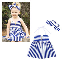 Children Summer Dress Stripes Spaghetti Strap Bottom & Top One Piece Dress [9283979140]