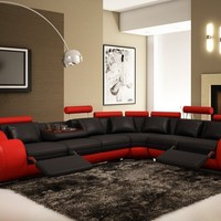 Modern Bonded Leather Sectional Sofa Black and Red