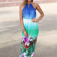 ASTER MAXI , DRESSES, TOPS, BOTTOMS, JACKETS & JUMPERS, ACCESSORIES, 50% OFF SALE, PRE ORDER, NEW ARRIVALS, PLAYSUIT, COLOUR, GIFT VOUCHER,,MAXIS,Blue,Print,SLEEVELESS Australia, Queensland, Brisbane