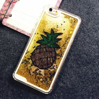 2017 New Fruit Pineapple Glitter Stars Dynamic Liquid Quicksand Transparent Cover case phone case for Iphone 5S / 6 / 6Plus YC780
