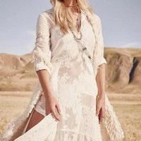 White Lace Embroidery Buttons Side Slit Big Swing Boho Beach Maxi Dress
