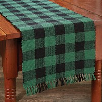 """Wicklow Check Table Runner - 36""""L - Forest"""