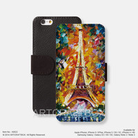 The Eiffel Tower Oil Paiting iPhone Samsung Galaxy leather wallet case cover 022