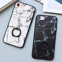 Fashion Classics Black White Marble Case For iphone 7 Case For iphone7 6 6S PLus Back Cover Phone Cases with Ring Grip Fundas -Girllove100