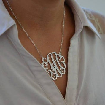 Sterling Silver Monogrammed Necklace- Great for bridal parties or gifts