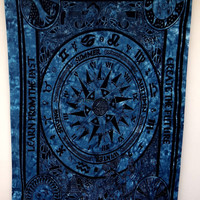 Zodiac Tapestry, English season Mandala Tapestry, Horoscope tapestry , Bohemian Room Décor, Dorm Bedding Tapestry Art