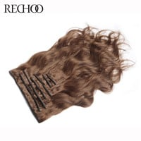 Rechoo Body Wave Malaysian Non-remy Hair 7Pcs #8 Light Brown Color 100% Human Hair Clip In Extension 120 Gram Full Head Set
