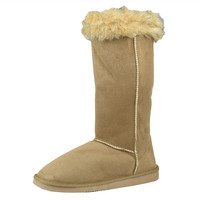 Womens Mid Calf Boots Two Tone Fur Cuff Casual Pull on Shoes Tan SZ
