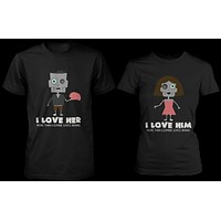 Love You More Than a Zombie Loves Brains Matching Couple Shirts (Set)