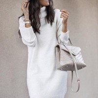 Explosion models women's long section high collar shirt sweater sweater